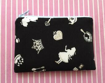 Alice in Wonderland print wallet, zipper pouch, bag - change purse