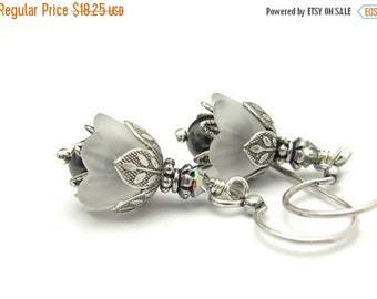 White Earrings, Flower Earrings, White Flower Earrings, Bridesmaid Gift, Swarovski Gray Pearl, Antiqued Silver Plated, Petite Neo Victorian
