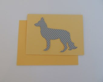 HANDMADE Polka Dotted German Shepherd Note Card Free Domestic Shipping