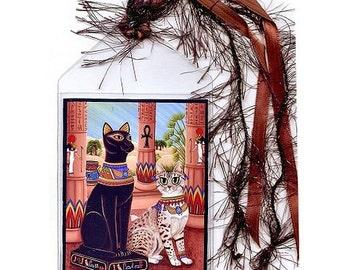 SALE Bast Cat Bookmark Bastet Cat Statue Temple Goddess Egyptian Mau Cat Bookmarker Egypt Fantasy Cat Art Mini Bookmark Cat Lovers Gift