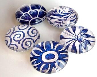 Vintage Blue Wallpaper Magnet Set in Tin