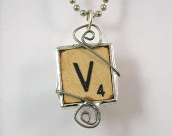 Scrabble Letter V Pendant Necklace