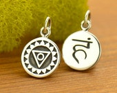 Throat Chakra Charm - Yoga Jewelry - DIY Sterling Silver round disc charm-double sided with sanskrit - 5th fifth chakra- yoga necklace