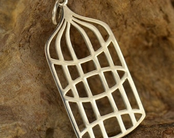 Large sterling silver bird cage charm or pendant. Birdcage jewelry.