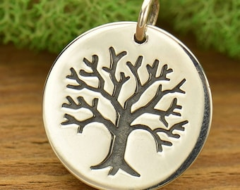 Large Sterling Silver Etched Tree Pendant - Tree of Life Pendant - Tree Charm - Family Tree Pendant - Family Tree Charm - Bare Branches