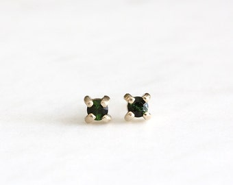 14k gold green tourmaline stud earrings, handmade