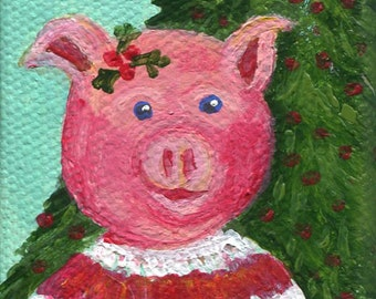 Christmas Pig Painting, Pig in ugly Christmas sweater, tree on mini canvas,  Easel, acrylic painting canvas art, Holiday decor