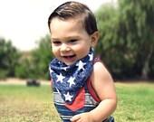 Bandana Bib, Drooler Bib, Bandana  Bib, Bibdana Girl or Boy - Gender Neutral Baby Bib - 4th of July, Fourth of July - NAVY & WHITE STARS