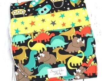 Dinosaur Burp Cloth, Boy Burp Cloths, Rocket Ship Burp Cloth, Stars - Triple Layer Chenille - Set of 3 - DINOSAURS, STARS & SPACESHIPS