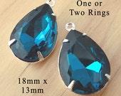 Blue Zircon Glass Beads, Silver Plated Brass Settings, Rhinestone Jewel, Pear Teardrop, 18mm x 13mm, Teal, Set Stones, Glass Gems, One Pair