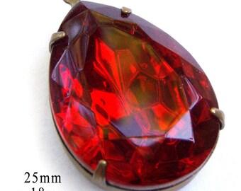 Red Teardrop Pendant, Patina Brass Setting, 25mm x 18mm, Glass Bead, Rhinestone Jewel, 18x25 Teardrop, Set Stone, Glass Gem