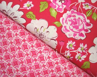 Ying Ming in Red / Oolong in Fuchsia /  Dena Designs Fabric / Tea Garden Collection -  1 yd Cotton Quilting Fabric Apparel Fabric