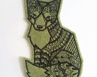 Iron On Patch Tribal Fox Applique in Moss Green Felt and Black Embroidery Thread