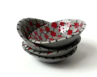 4 Ceramic Bowls with Argyle Design, prep bowls, tea bag holder, ring holder, small bowl