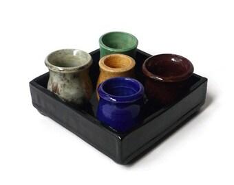 Handmade Ceramic  Tray of Pots- Black Tray with 5 Miniature Pots
