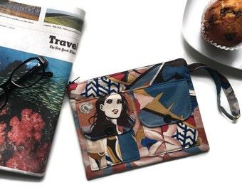 Wristlet Wallet Surfer Girls, Retro Blue Flower Wallet Wristlet, Fabric Wallet, Floral Wristlet Wallet, Cell Phone Wristlet, 144collection