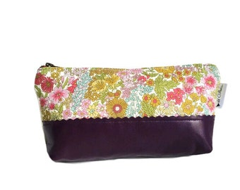 Leather Cosmetic Bag, Makeup Bag, Margaret Annie Toiletry Bag, Make up Case, Zipper Pouch, Cosmetic Case, Clutch