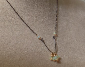 OPAL necklace, genuine Ethiopian Opal necklace, mixed metals, silver and gold filled, chevron,