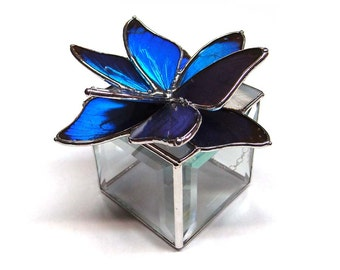 Glass Jewelry Box, Perfect for a Engagement or Wedding Rings, Real Blue Morpho Butterflies in a Blue Flower Design