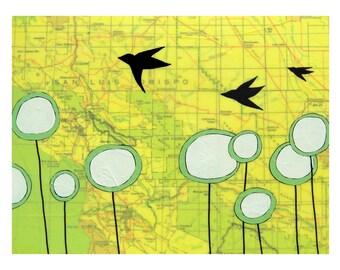 San Luis Obispo Map Print // Travel Art // California // Bird Art // Modern Nursery Art // Map Art // Modern Decor / Rachel Austin Art 11x14