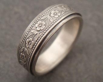 Womens Wedding Band, Men's Wedding Band, Floral Wedding Band, White Gold Women's Wedding Ring, Men's Wedding Ring, Petunia Wide Wedding Band