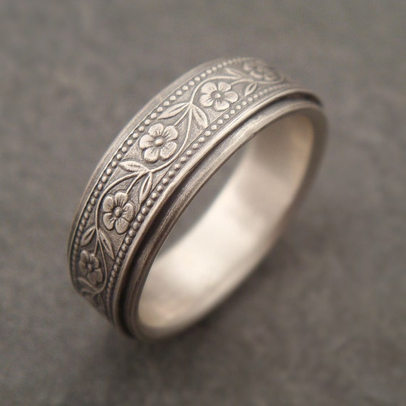 Womens Wedding Band, Men's Wedding Band, Floral Wedding Band, White Gold Women's Wedding Ring, Men's Wedding Ring, Petunia Wide Wedding Band