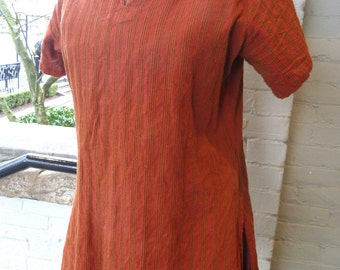 Vintage Fabindia Rust Striped INDIAN COTTON Top Shirt sz M
