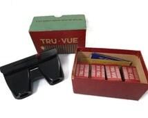 Vintage Tru Vue Slide Viewer, 4 Reels, Bakelite, Slide Viewer, Stereoscope, Ephemera, Rock Island Illinois 3D Photo Viewer