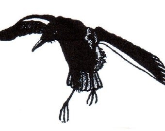 Crow Jumping-REGULAR or SMALL Red Rubber Stamp-Original design 03106, halloween rubber stamp, crow rubber stamp