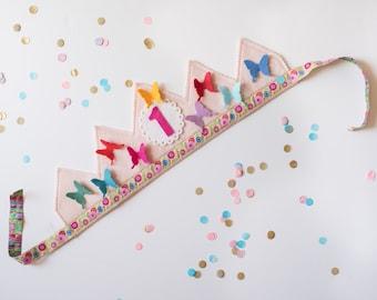 rainbow birthday crown - butterflies - wool felt  waldorf birthday party