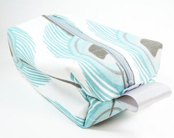 Makeup Bag / Cosmetic Bag/ Travel Bag / Toiletry Bag - Aqua Blue Peacock Feather
