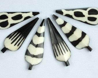 Beautiful Batik BONE Pendants (2) Matched Set