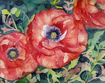 Watercolor and Acrylic Red Poppies Original Painting, Poppy Art, Poppy Decor, Poppy Flowers