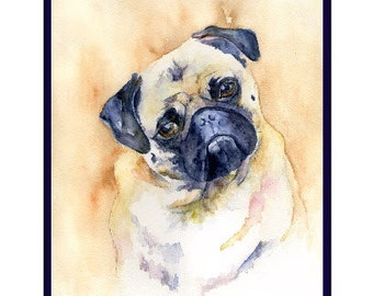 Watercolor Pug Dog Note Cards, Notecards, Pug Prints, Pug Art, Boxed Set, Dog Lover, Stocking Stuffers