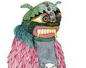 Square Greeting Card: Dragon mask