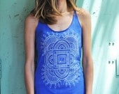 Royal Blue Racerback Tri Blend Tank, Screen Printed Folk Design