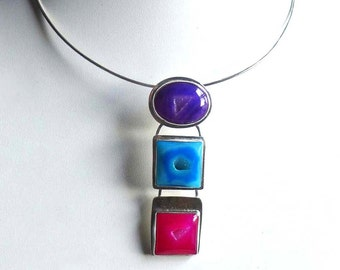 Pink Blue Purple Druzy Gemstone Necklace, Hot Colors Druzy Necklace, Multicolor Gemstone Statement Gemstone Colorful Necklace