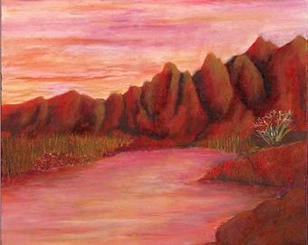 River Sunset Painting- Original Acrylic Painting Salt River Arizona Desert Red Pink Orange