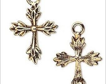 Leaf Design Cross Antique Gold Pewter Charms Pendants 22mm 2 pieces