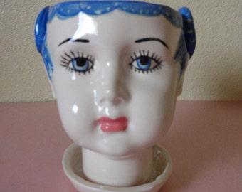 VANESSA  Blue Doll head planter