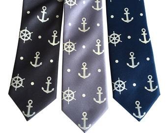Anchor Necktie. Anchor & Ship's Wheel Blue Nautical Tie. Hand printed men's tie, coastal nautical wedding, seaside wedding. Preppy tie.