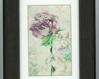 Encaustic painting mauve rose beeswax art matted and framed.