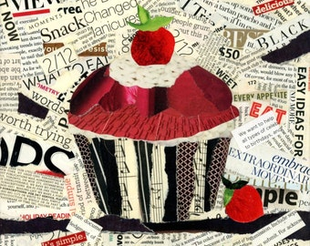 "Mixed media art Torn paper collage ""Strawberry Cupcake"""