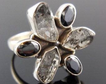Herkimer Diamond (Quartz) Rough and Onyx Sterling Silver Ring - Size 8.25