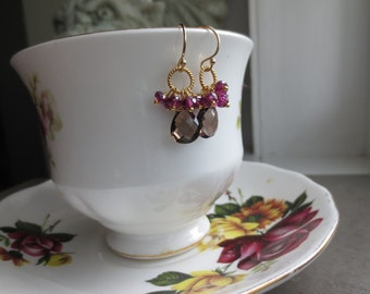 Smoky Quartz Rhodolite Gold Earrings Vermeil Cluster Dangle