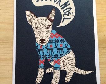 Joyeux noël dog card