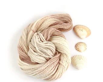 Handdyed chunky yarn, bulky baby alpaca knitting crochet wool, Perran Yarns She Sells Seashells pale neutral beige cream yarn hank uk seller
