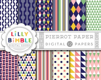 Modern digital paper, scrapbook papers, harlequin, Instant Download, Lilly Bimble, commercial use