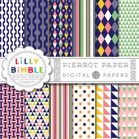 50% off Modern digital paper, scrapbook papers, harlequin, Instant Download, Lilly Bimble, commercial use
