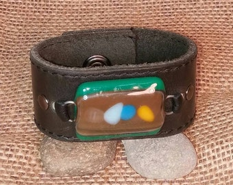 Distressed Black Leather Wrist Belt with Fused Glass Focal - Upcycled - Medium